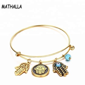 Stainless steel Vacuum gold plating Genuine leather Turquoise Bear Bracelet