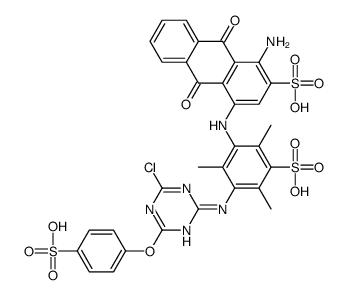 1-amino-4-[3-[[4-chloro-6-(4-sulfophenoxy)-1,3,5-triazin-2-yl]amino]-2,4,6-trimethyl-5-sulfoanilino]-9,10-dioxoanthracene-2-sulfonic acid