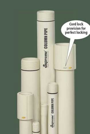 Supreme and UPVC Column Pipe For Submersible Pump, Size/Diameter: 1/2 inch and 2 inch