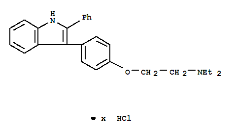 Ethanamine,N,N-diethyl-2-[4-(2-phenyl-1H-indol-3-yl)phenoxy]-, hydrochloride (1:?)