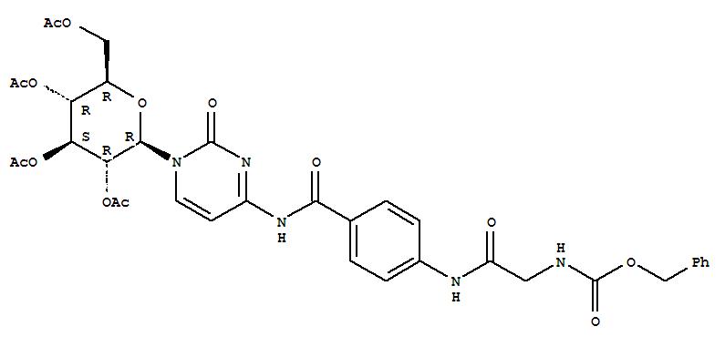 Carbamic acid,[[[p-[(1-b-D-glucopyranosyl-1,2-dihydro-2-oxo-4-pyrimidinyl)carbamoyl]phenyl]carbamoyl]methyl]-,benzyl ester, tetraacetate (ester) (8CI)