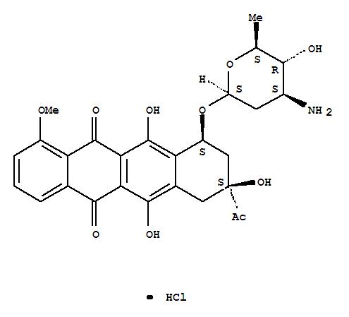 5,12-Naphthacenedione,8-acetyl-10-[(3-amino-2,3,6-trideoxy-b-L-arabino-hexopyranosyl)oxy]-7,8,9,10-tetrahydro-6,8,11-trihydroxy-1-methoxy-,hydrochloride, (8S-cis)- (9CI) cas  63950-07-2
