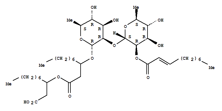 Decanoic acid,3-[[6-deoxy-2-O-[6-deoxy-2-O-(1-oxo-2-decenyl)-a-L-mannopyranosyl]-a-L-mannopyranosyl]oxy]-, 1-(carboxymethyl)octyl ester cas  61601-55-6