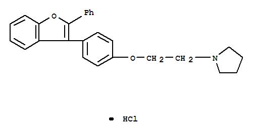 Pyrrolidine,1-[2-[4-(2-phenyl-3-benzofuranyl)phenoxy]ethyl]-, hydrochloride (1:1) cas 25433-79-8