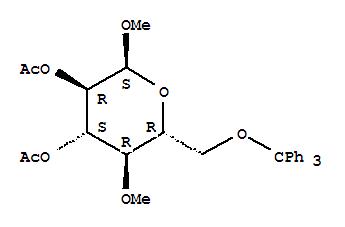 Glucopyranoside, methyl4-O-methyl-6-O-trityl-, diacetate, a-D- (8CI) cas  27539-46-4