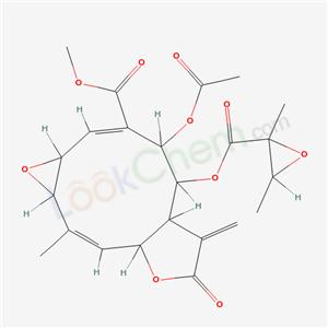 Oxireno[7,8]cyclodeca[1, 2-b]furan-3-carboxylic acid, 4-(acetyloxy)-5-[[(2, 3-dimethyloxiranyl)carbonyl]oxy]-1a,4,5,5a,6,7,8a, 10a-octahydro-10-methyl-6-methylene-7-oxo-, methyl ester, [1aR-[1aR*,2E,4