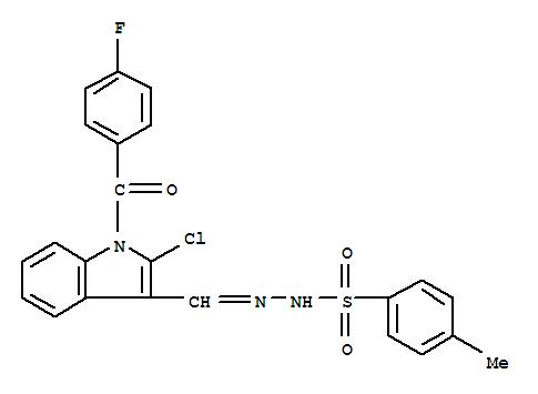 Benzenesulfonic acid,4-methyl-, 2-[[2-chloro-1-(4-fluorobenzoyl)-1H-indol-3-yl]methylene]hydrazide cas  70993-84-9