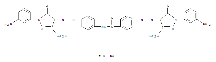 1H-PYRAZOLE-3-CARBOXYLIC ACID 1-(3-AMINOPHENYL)-4-[[4-[[4-[[1-(3-AMINOPHENYL)-3-CARBOXY-4,5-DIHYDRO-5-OXO-1H-PYRAZOL-4-YL]AZO]BENZOYL]AMINO]PHENYL]AZO]-4,5-DIHYDRO-5-OXO-,SODIUM SALT